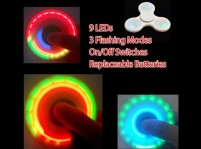 Tri-Color LED Light Up Fidget Spinner 3 Flashing Modes On/Off Switches Replaceable Batteries